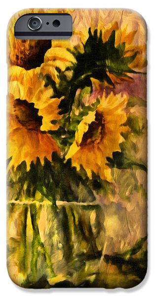 Concept Mixed Media iPhone Cases - Flaming Sunflowers Vintage Expressionism iPhone Case by Georgiana Romanovna