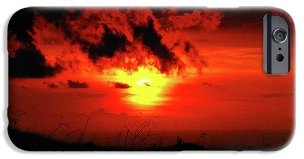 Christi Kraft iPhone Cases - Flaming Sunset iPhone Case by Christi Kraft