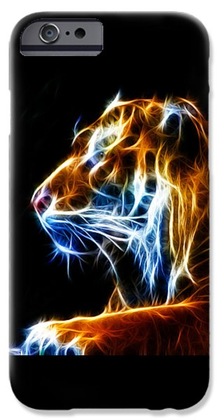 Tiger Fractal iPhone Cases - Flaming Tiger iPhone Case by Shane Bechler