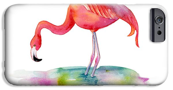 Flamingoes iPhone Cases - Flamingo Dip iPhone Case by Amy Kirkpatrick