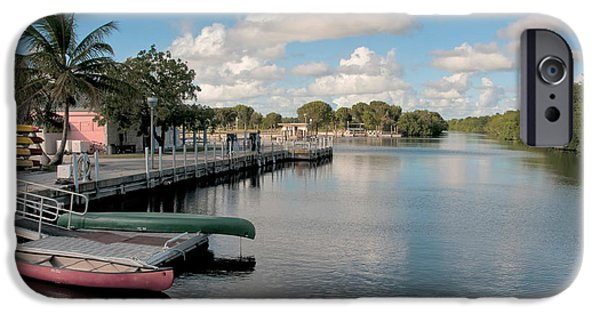 Canoe iPhone Cases - Flamingo Harbor, Florida iPhone Case by Mark Newman
