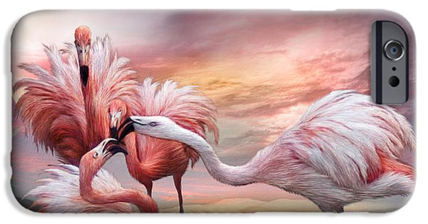 Flamingo iPhone Cases - Flamingo Kiss iPhone Case by Carol Cavalaris