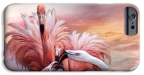 Flamingo iPhone Cases - Flamingo Kiss - SQ iPhone Case by Carol Cavalaris