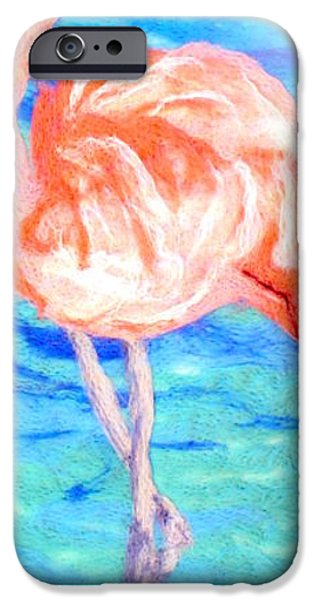 Sea Birds Tapestries - Textiles iPhone Cases - Flamingo iPhone Case by Kyla Corbett
