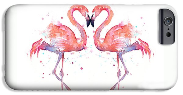Olga Shvartsur iPhone Cases - Flamingo Love Watercolor iPhone Case by Olga Shvartsur