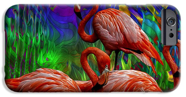 Abstract Digital Art iPhone Cases - Flamingo Trio II iPhone Case by Jack Zulli