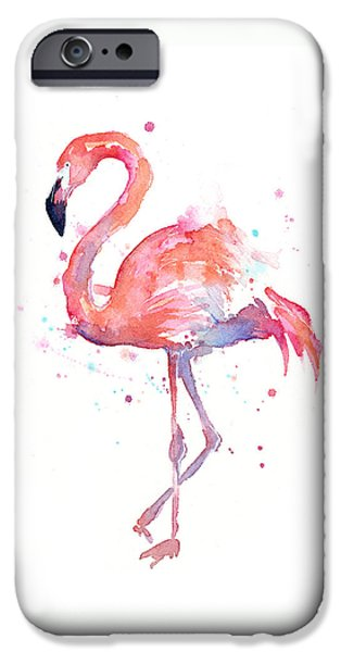 Painted Mixed Media iPhone Cases - Flamingo Watercolor iPhone Case by Olga Shvartsur