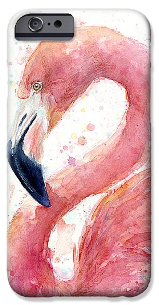 Olga Shvartsur iPhone Cases - Flamingo Watercolor Painting iPhone Case by Olga Shvartsur
