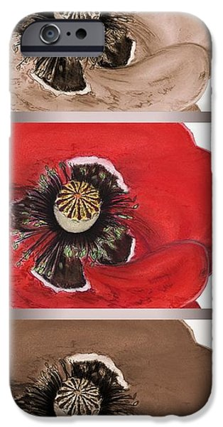 Red Wine Pastels iPhone Cases - Flanders Poppy Triptych iPhone Case by J McCombie