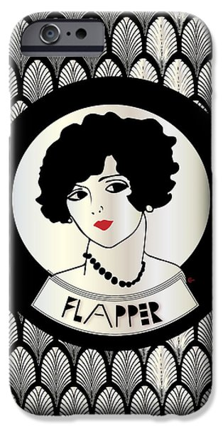 Jordan Mixed Media iPhone Cases - 1920s FLAPPER GATSBY GIRL in black and pearl iPhone Case by Cecely Bloom