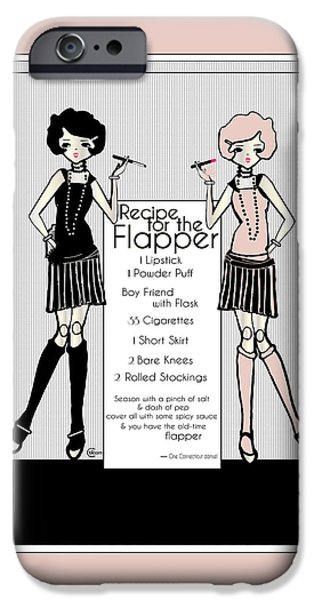 Party Invite iPhone Cases - Flapper Girl 1920s Recipe Gatsby Girl with 2 flappers iPhone Case by Cecely Bloom
