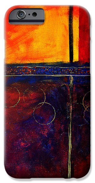 Abstractions iPhone Cases - Flash Abstract Painting iPhone Case by Nancy Merkle