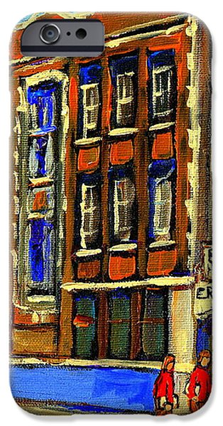 FLASHBACK TO SIXTIES MONTREAL MEMORIES BARON BYNG HIGH SCHOOL VINTAGE LANDMARK ST. URBAIN CITY SCENE iPhone Case by CAROLE SPANDAU