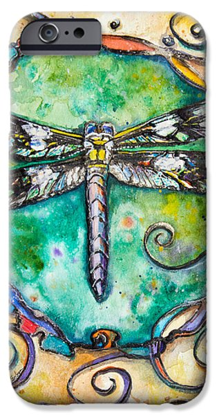 Silver Turquoise iPhone Cases - Flashy Dragonfly Children of the Earth Series iPhone Case by Patricia Allingham Carlson