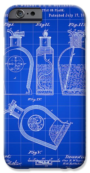 Wine Sipping iPhone Cases - Flask Patent 1888 - Blue iPhone Case by Stephen Younts