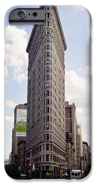 Nyc Pyrography iPhone Cases - Flat Iron Building iPhone Case by Alexis Cruz