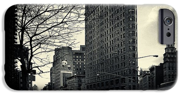 Filmnoir iPhone Cases - Flat Iron Building Fifth Avenue and Broadway iPhone Case by Sabine Jacobs