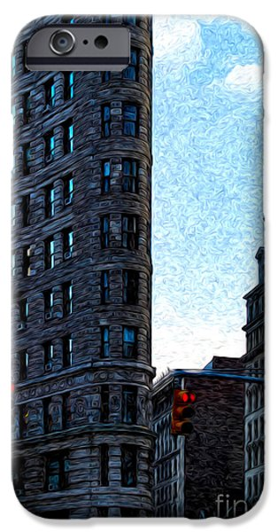 Hudson River Digital iPhone Cases - Flat Iron NYC iPhone Case by Sabine Jacobs