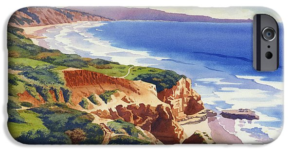 Pines iPhone Cases - Flat Rock and Bluffs at Torrey Pines iPhone Case by Mary Helmreich