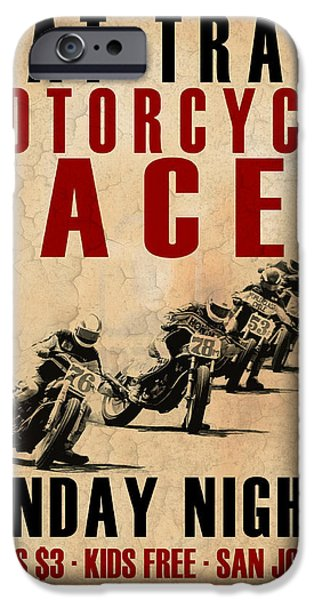 Motor Sport iPhone Cases - Flat Track Motorcycle Races iPhone Case by Mark Rogan