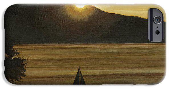 Sailboats iPhone Cases - Flathead Sunset iPhone Case by John Wyckoff