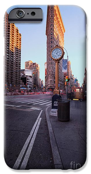Colour Image iPhone Cases - Flatiron area in motion iPhone Case by John Farnan