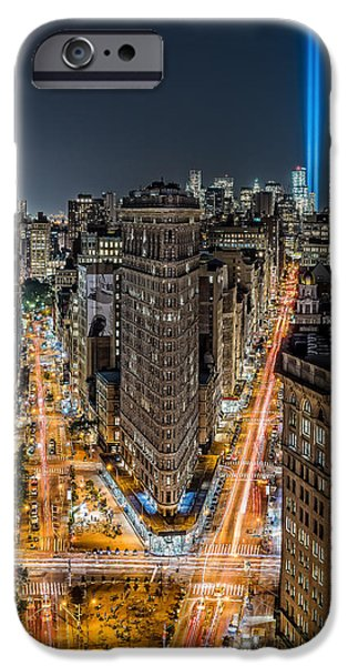Twin Towers Nyc iPhone Cases - Flatiron Building With 9/11 World Trade Center Tribute Lights  iPhone Case by Kirit Prajapati