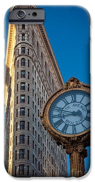 Flatiron Clock iPhone Case by Inge Johnsson