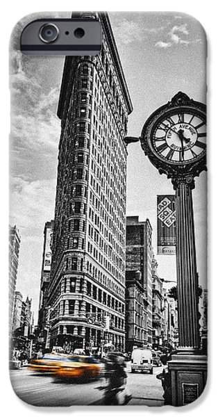 Buildings iPhone Cases - Flatiron Rush iPhone Case by Andrew Paranavitana