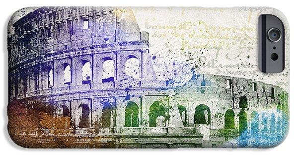 Recently Sold -  - Buildings Mixed Media iPhone Cases - Flavian Amphitheatre iPhone Case by Aged Pixel