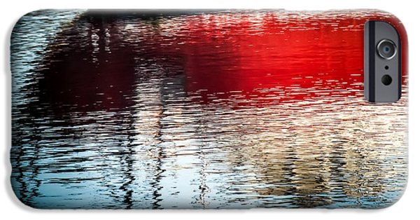 Boat iPhone Cases - Red Boat Serenity iPhone Case by Karen Wiles