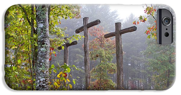 The Wooden Cross iPhone Cases - Flax Creek in the Fog iPhone Case by Debra and Dave Vanderlaan