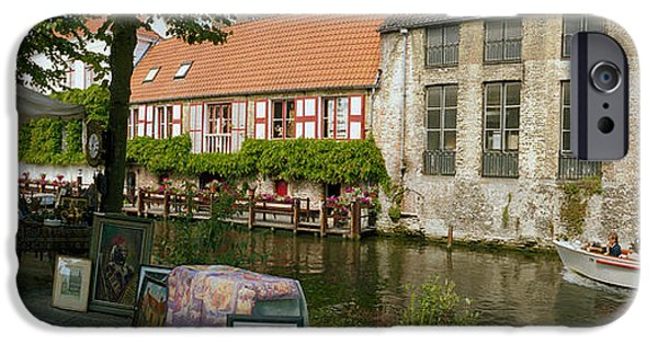 Built Structure iPhone Cases - Flea Market At A Canal, Dijver Canal iPhone Case by Panoramic Images