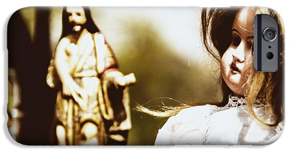 Miracle iPhone Cases - Flea Market Series - Doll and Jesus iPhone Case by Marco Oliveira
