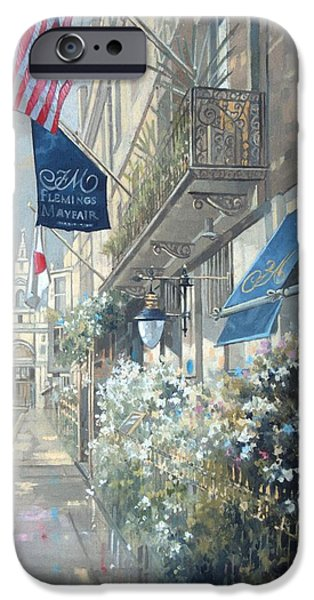 Balcony iPhone Cases - Flemings Hotel, Half Moon Street, London Oil On Canvas iPhone Case by Peter Miller
