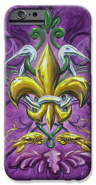 Mardi Gras Paintings iPhone Cases - Fleur De Lis 4 iPhone Case by Theon Guillory