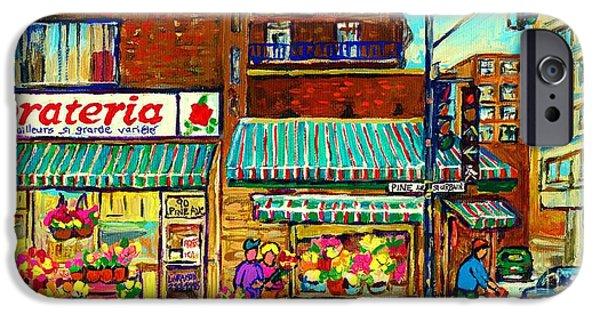 Recently Sold -  - Couple iPhone Cases - Fleuriste Florateria Flower Shop Paintings Montreal Art St Urbain Colorful Shops Carole Spandau iPhone Case by Carole Spandau