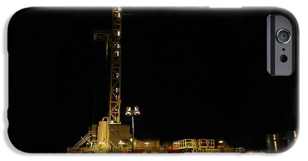 Energy Industry iPhone Cases - Flex Rig At Night iPhone Case by Jeff  Swan