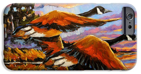 Canadian Geese Paintings iPhone Cases - Flight Navigations Geese in  Motion iPhone Case by Richard T Pranke