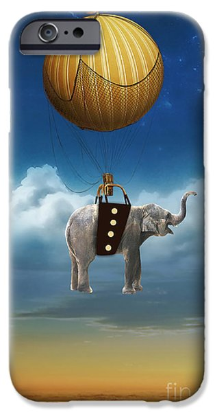 Wild iPhone Cases - Flight Of The Elephant iPhone Case by Marvin Blaine