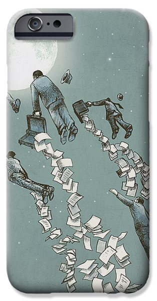 Business Drawings iPhone Cases - Flight of the Salary Men iPhone Case by Eric Fan