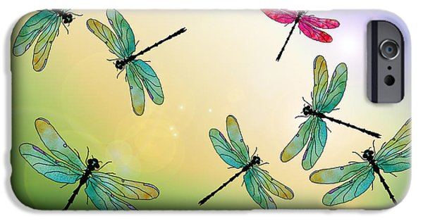 Dragonfly iPhone Cases - Flight of the Scarlet Lady iPhone Case by Jenny Armitage