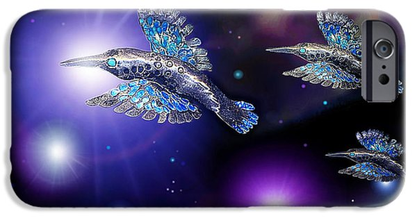 Planets Sculptures iPhone Cases - Flight of the Silver Birds iPhone Case by Hartmut Jager