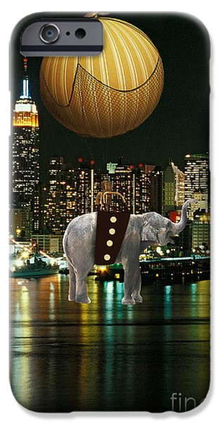Elephants iPhone Cases - Flight Over The New York Skyline On A Hot Air Balloon iPhone Case by Marvin Blaine