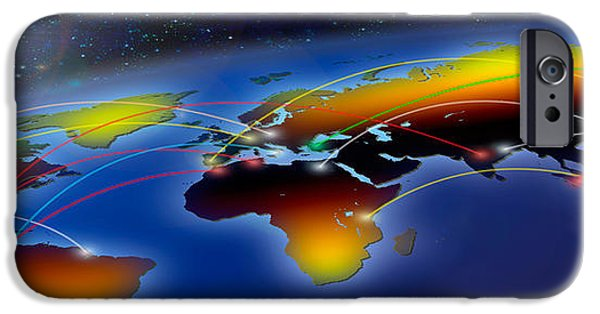 Business iPhone Cases - Flight Plan Marked On A Globe iPhone Case by Panoramic Images