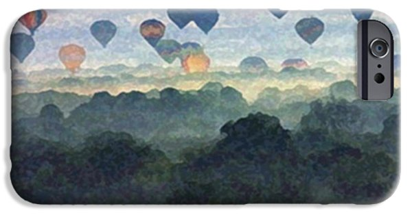 Hot Air Balloon Mixed Media iPhone Cases - Flight Three iPhone Case by Dennis Buckman