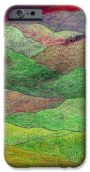 Pen And Ink iPhone Cases - Flint Hills Fall iPhone Case by Lesa Weller