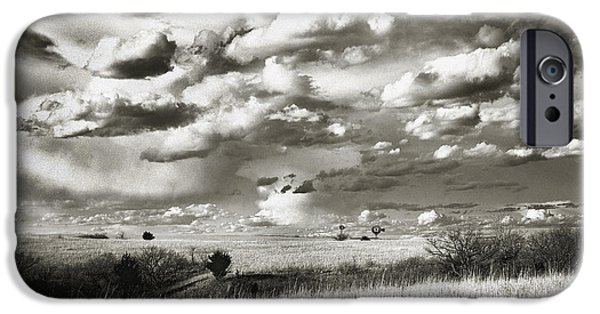 Approaching Storm iPhone Cases - Flint Hills Prairie iPhone Case by Thomas Bomstad