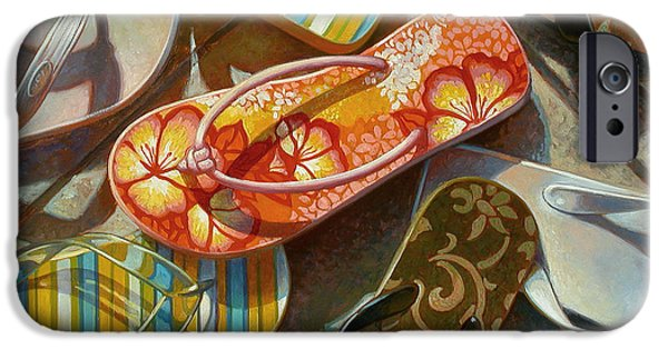 Flower Still Life iPhone Cases - Flip Flops iPhone Case by Mia Tavonatti