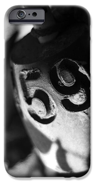Crabbing iPhone Cases - Float Number 59 - Black and White iPhone Case by Rebecca Sherman